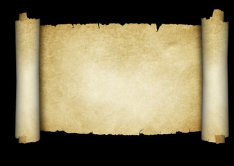 Antique scroll of parchment on black background.