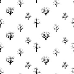 Seamless black and white curved trees without leaves backgrounds. Vector forest seamless texture.