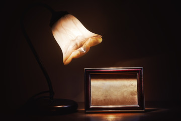 Retro Lamp and Picture Frame