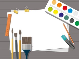 Paints, brushes, pencils,  pen, paper. Back to school. Wooden background