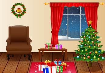 Christmas living room with xmas tree, presents and armchair