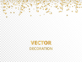 Holiday background. Isolated golden garland border, frame. Hanging baubles, streamers, falling confetti