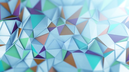 Mutlicolor low poly 3D surface abstract render Wall mural