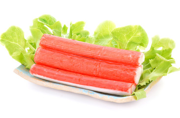 Crab sticks isolated on white background.