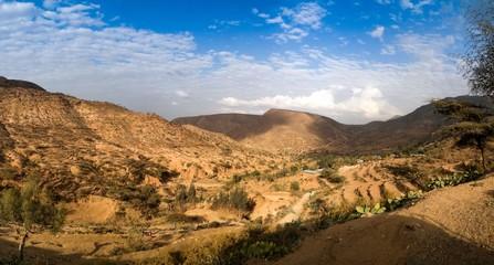 Panorama of mountains and valley near Haramaya , Oromia , Ethiopia