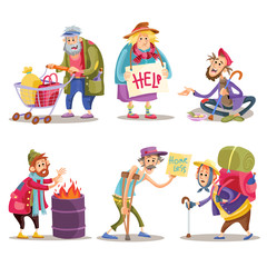 Beggars, homeless, tramps, hobo, funny vector cartoon set isolated on white background. Hobo with shopping cart, beggar on the street, homeless man warms himself by the fire, bum with crutch