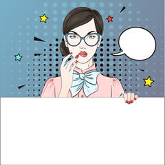 Comic Pop art blonde hair woman in pink blouse holds her glasses and white banner. Vector illustration.