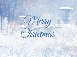 Blurry and abstract magical winter landscape photo with greeting text: Merry Christmas. Glitter overlay.