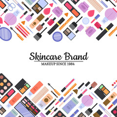 Vector flat style makeup and skincare background