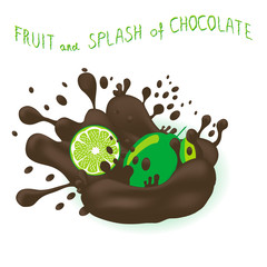 Vector icon illustration logo for ripe fruit green citrus lime