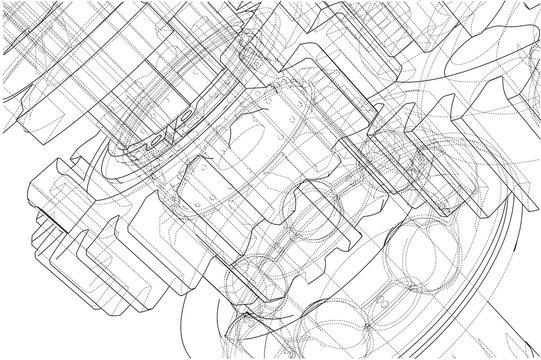 Gearbox sketch. Vector