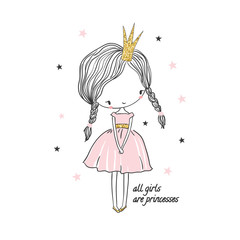 Cute little princess girl. Fashion illustration for kids