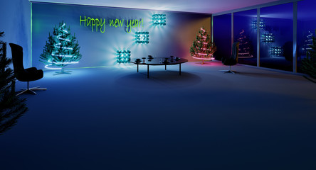 3D rendering. New year is coming soon