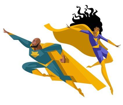 superhero man and woman flying