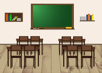 School class - desks, chairs, board and bookshelves. Vector Illustration