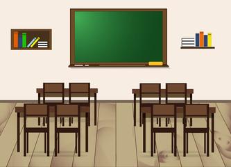 School class - desks, chairs, board and bookshelves. Vector Illustration