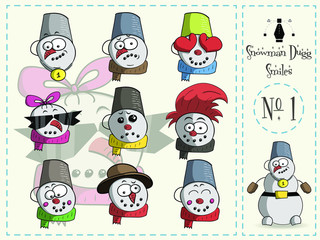 Cute Set of smiles, Dugg the snowman, number 1, vector illustration