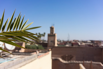 marrakesh morocco medina with mosque viewed from rooftop