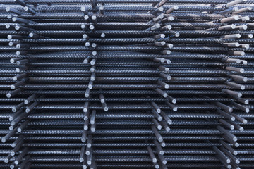 Steel Rebars for reinforced concrete.steel reinforcement bar texture in construction site.