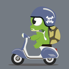 monster turtle on motorcycle