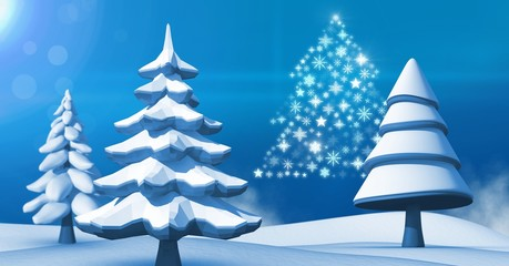 Snowflake Christmas tree shape with snow landscape