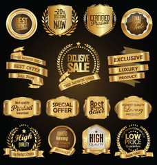 Golden badges and labels with golden ribbon vector collection