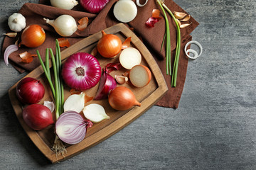 Composition with different fresh onions on grey background