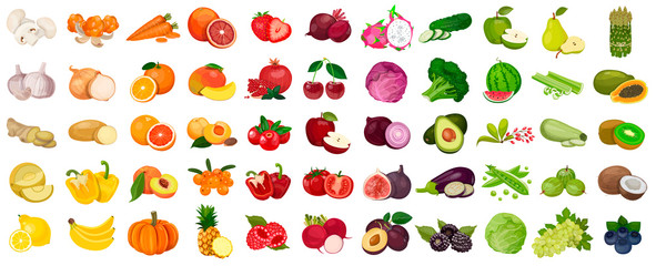 Lamas personalizadas para cocina con tu foto Set of berries and fruits, vegetables on a white background. Vector icon