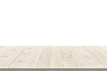 Empty wooden table for product placement or montage with focus to table top in the foreground, with white background. Wooden board empty table perspective.