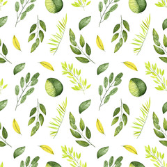 Watercolor seamless pattern. Pattern with leaves and branches. Perfect for you postcard design,invitations,projects,wedding card,poster,packaging,greeting card.
