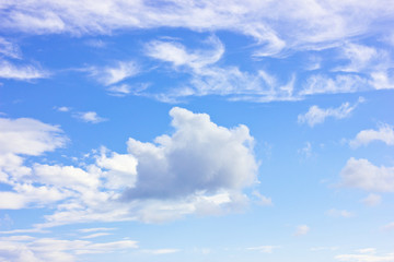 Blue sky with a white cumulus clouds
