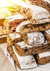 Rye ciabatta bread slices. Food background.