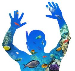 Creative double exposure of snorkeler and Red Sea underwater life.
