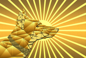 Golden Abstract Dog