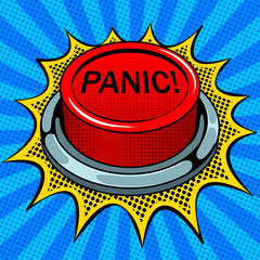Acrylic Prints Pop Art Panic red button pop art vector illustration
