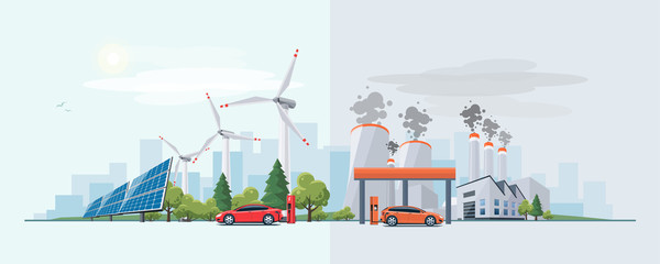 Vector illustration of renewable electric vs. fossil pollution power electricity resource. Electric car charging at  charger station with solar panels and wind turbines and fossil car refueling petrol