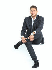 portrait relaxed businessman sitting