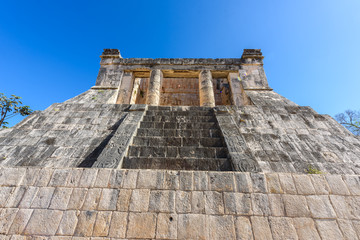 View of the ballcourt at Chichen Itza, old historic ruins in Yucatan, Mexico