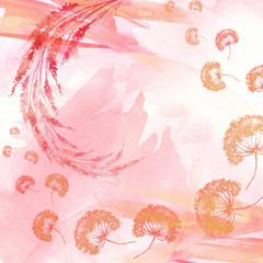 Watercolor art postcard, tag, card, background - a picture of pink, red, Orange flowers, dandelions, dried flowers. Abstract beautiful background, splash of paint.