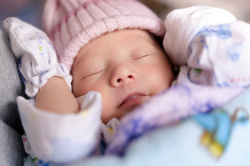 New born baby infant asleep