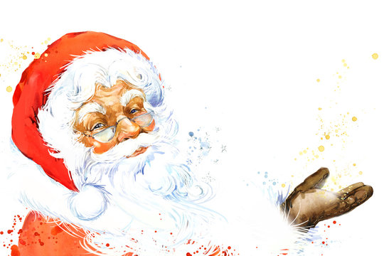 Watercolor Santa Claus.. Christmas.. New Year background.