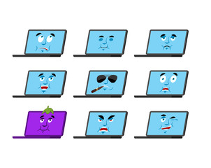 Laptop set emotion avatar. sad and angry face. guilty and sleeping. Computer sleeping emoji face. PC Eggplant. Vector illustration