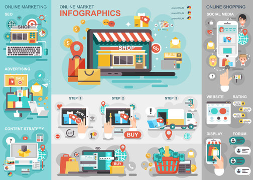 Online market flat infographic vector design template. Can be used for business process, shopping, e-commerce, big sale, content strategy, advertising, digital merketing.