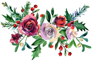 Christmas floral background. winter holiday nature illustration. watercolor red rose flower, holly, pine branch, berries.