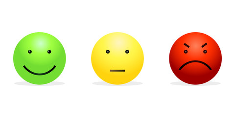Vector Set of 3 Smileys - Green Happy, Yellow Calm and Red Furious