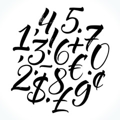 Brush lettering numbers, punctuation and currency symbols. Modern calligraphy, handwritten letters. Vector illustration.