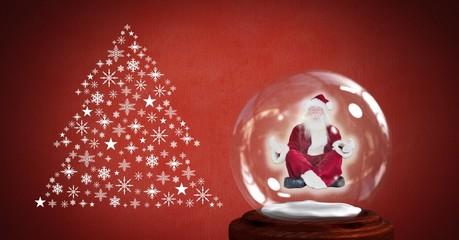 Santa meditating in snow globe and Snowflake Christmas tree