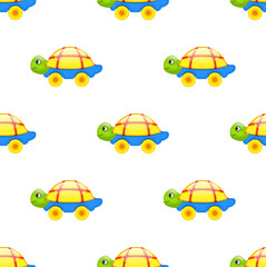 Seamless Pattern with Toy Turtle on Wheels Isolated