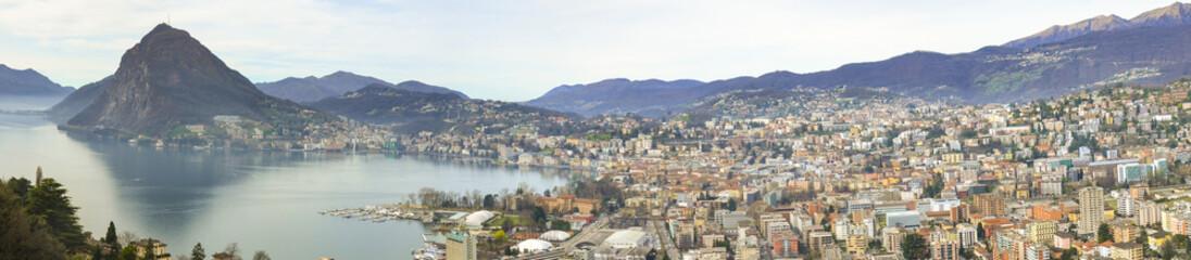 Lugano morning. Panorama view lake and city. Ticino- Switzerland