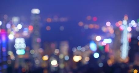 Wall Mural - Blur of Hong Kong cityscape at night